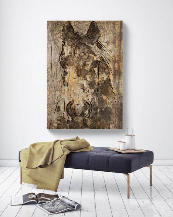 "Black Diamond Horse. Extra Large Horse, Horse Wall Decor, Brown Rustic Horse, Large Contemporary Canvas Art Print up to 72"" by Irena Orlov"