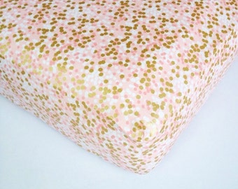 Crib Sheet Gold Pink Bedding - Coral Pink Baby Sheet / Mini Crib Bedding / Coral Changing Pad Cover / Etsy Baby Bedding / Gold Baby Bedding