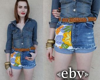 Handmade Vintage High Waisted 70s Floral Denim Jean Cut Offs XS S Hippie Shorts Hippy Shorts Festival Shorts Jean Cut offs