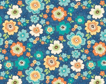Blue and Orange Floral Fabric - Riley Blake Road Trip Fabric - Retro Blue Floral Quilting Fabric By The 1/2 Yard or Fat Quarter