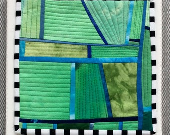 Ready for flowers , Quilted Art, quilted wall hanging, home decor, fabric wall art, modern art quilt
