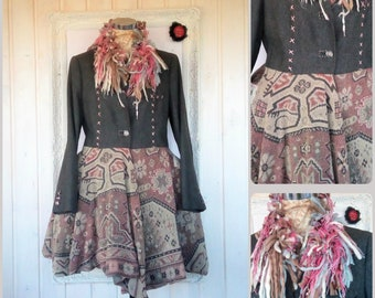 M - L Boho Quirky Vintage Wool Coat Mori Hippie Upcycled Recycled Clothing Lined Coat Patchwork