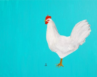 White Rooster Painting