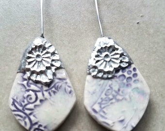 Ceramic Earrings Charms Pair with Decorative Tinwork - You Choose Metal Color - #a59