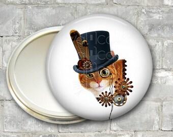 steam punk cat pocket mirror, original art hand mirror, mirror for purse, bridesmaid gift, stocking stuffer  MIR-1013