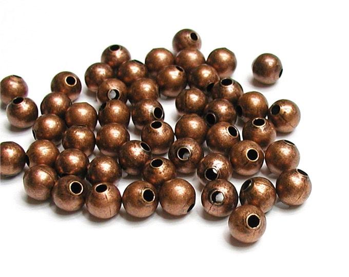Bead, Round, 3mm, Antique Copper - 100 Pieces (BDBAC-RD30)
