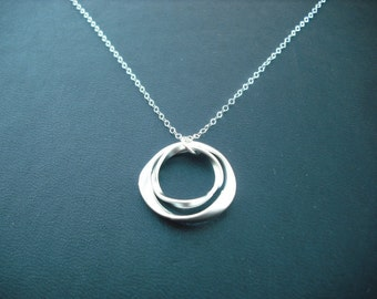 Sterling silver chain - matte double twisted circle hoop necklace
