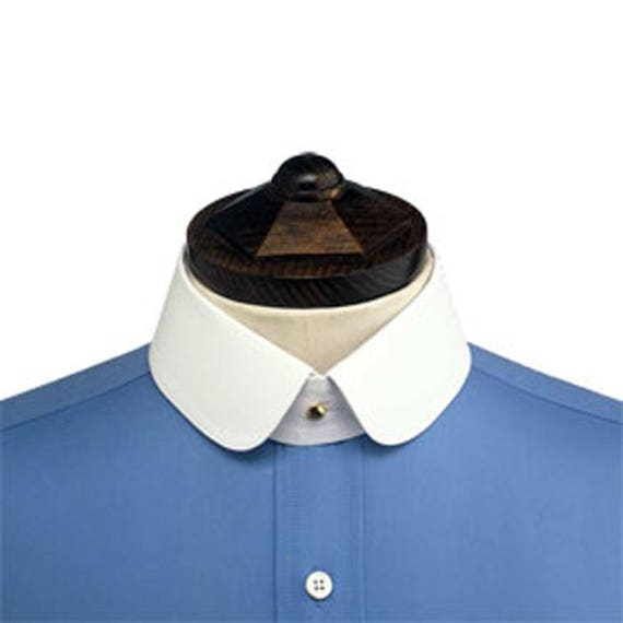 Victorian Men's Shirts- Wingtip, Gambler, Bib, Collarless Brand new Starched Stiff Detachable Shirt Collar DOUBLE ROUNDED. (Collar ONLY) $23.27 AT vintagedancer.com