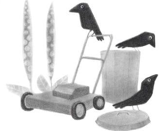Three Corvids - Original drawing