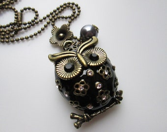 Garden Owl Necklace with Flower and Pearl Accents