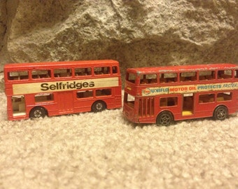 Matchbox 'The Londoner' Double Decker Bus 1972 and Whizzwheel Double Decker Bus