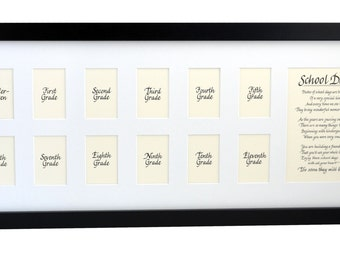 10x24 School Days Wooden Picture Frame K-12, 13 Openings, Black Frame, White Mat Classic - Personalized an Option