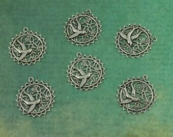 Silver Flying Bird Flower Filigree Charm Pendants - Package of 6