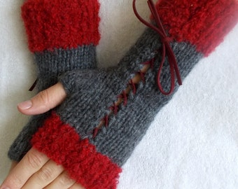 Knit Grey  Fingerless Corset Gloves Women Wrist  Warmers with Red