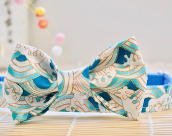 Blue Asian Ocean Waves Dog Bow Tie - Blue Beach Dog Bow Tie - Blue Summer Dog bow tie - New Dog gift - Dog Mom gift - Dog Dad Gift