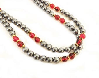 Vintage Necklace Strand, Beaded Necklace, Long Necklace, Gray and Red Beaded Necklace, Costume Jewelry, Fashion Jewelry, Opera Length