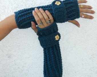 Heather teal arm warmers, fingerless gloves, texting gloves, crochet gloves, boho gloves, hand warmers, mittens, boho fashion, button gloves