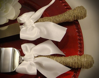 Wedding Cake Server and Knife Set, WEDDING Table Settings  -Engraving Optional- Select Colors To Match Your Theme