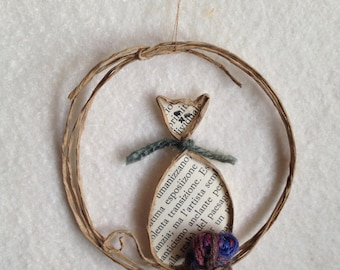 Paper Sculpture Ornament, Kitty Cat Made of a Book