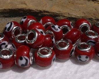 20 Murano Lampwork Red Smiley European Murano Lampwork Beads