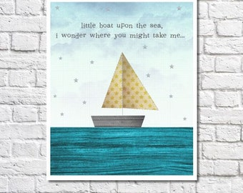 Sailboat Art Travel Quote Print Nautical Nursery Artwork Toddler Room Wall Art Baby Boy Boat Picture Sailing Theme Decor Little Boy Bedroom