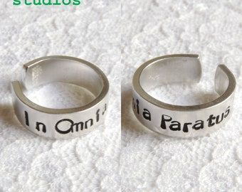 In Omnia Paratus Ring Handmade Hand Stamped Gilmore Girls Ready for Anything Quirky Fun Cute Life Death Brigade Logan Rory You Jump I Jump