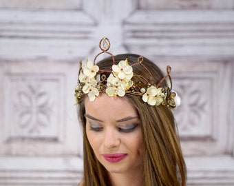 Rustic Gold Flower Crown, Elven Headpiece, Fantasy Headpiece, Gold and Amber, Fairy Crown, Fantasy, Woodland Wedding, Bridal Headpiece, Fae