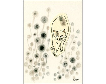 Cat ACEO drawing and collage Original - Circles 9