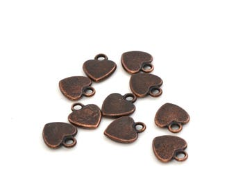 10 charms hearts 12 mm copper color