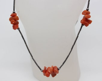 Vintage Branch Coral and Liquid Silver Choker Necklace
