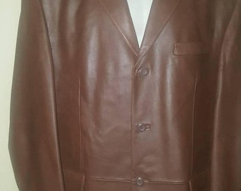 FREE SHIP BONUS Stafford Leather mens jacket blazer Size large 46 vintage sportcoat coat