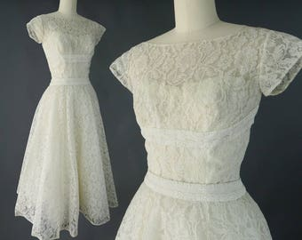 1950s Lace Tea Length Wedding Dress / Sweet Vintage 1950s - Early 60s Bridal