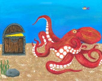 RED OCTOPUS Painting giclee print ocean sea