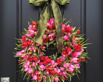 Red and Pink Tulips, Front Door Tulip Wreath, Valentine's Tulip Wreath for Door, Door Wreath Tulips, Red and Pink Tulips Door Wreaths