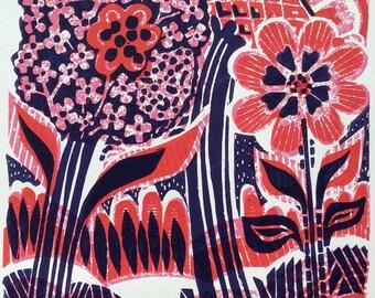 Flourish Flower Linocut Print Original