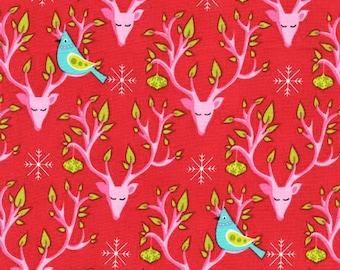Festive Forest Collection by Tamara Kate FESTIVE NEST in Red from Michal Miller Fabrics, yard