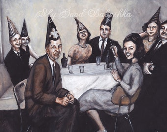 New Year's Eve, Party, Original Painting, Auld Lang Syne 1960s, Black and White, Sepia, Cocktail Party, Surreal, Party Hats, Funny Face