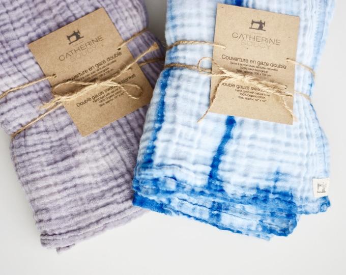 Naturally Dyed Organic Cotton Shibori Double Gauze Swaddle Blanket