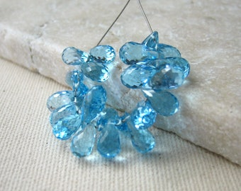 Swiss Blue Topaz Briolette Beads 4x6.5mm to 4.5x8mm -  24 Beads