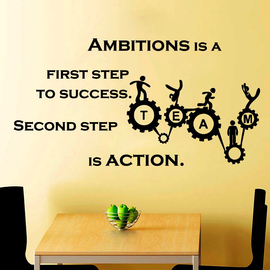 Wall Decals Quote Ambitions and Action Teamwork Motivation