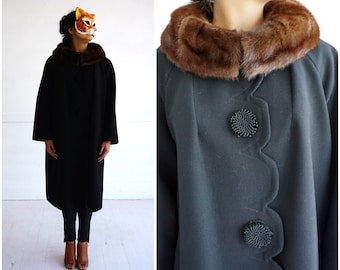 Vintage 1960's Black Wool Jacket with Brown Fur Collar, Scalloped Front and Oversized Buttons | Medium/Large