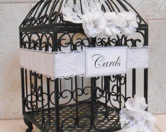 Black and White Wedding Birdcage Card Holder | Wedding Card Box | Black and White Wedding Decoration | Pearl Wedding Decor [Ready To Ship]
