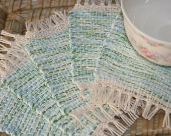 Spring Green Coasters - Eco Friendly Mug Rugs - Handwoven Coasters - Set of 5 Coasters