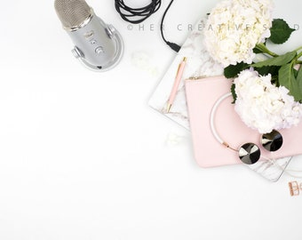 Styled Stock Photography | Flatlay Image | Hydrangea, Microphone with Desk Accessories 3 | Styled Photography | Digital Image