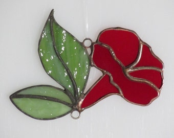 Stained Glass Red Morning Glory Trumpet and Leaves Suncatcher