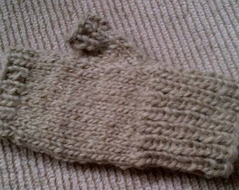 Lopi Wool sweater fingerless Mittens super for fishing or texting hand knitted in light Tan or Burgundy heather by uniquemohair