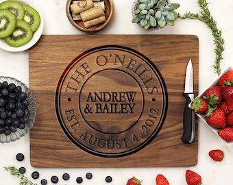 Personalized Cutting Board, Custom Engraved Cutting Board, Monogram Seal, Housewarming Anniversary Wedding, Walnut Wood --21071-CUTB-002