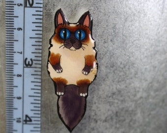 Handmade Cute Himalayan Siamese Cat Magnet for Fridge, car or locker