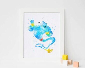 Disney Aladdin Genie lamp, Disney Genie Poster, Genie print, Genie Wall Art - Genie party decor, Genie printable, Genie nursery wall art