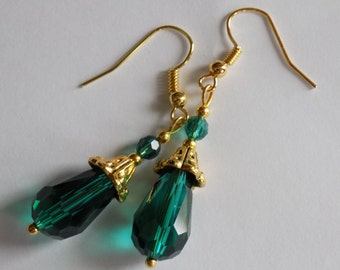 Teal Green Gold Faceted Glass Victorian Dangle Drop Teardrop Leaverback Clip-on French hooks Earrings
